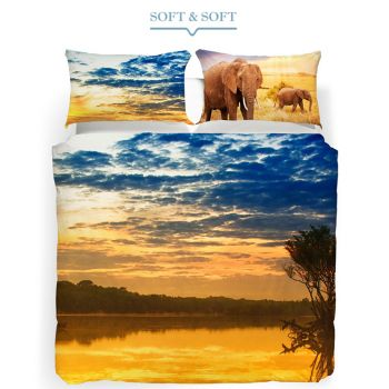 ANIMAL PLANET SAVANA Duvet cover parure for DOUBLE Bed by CALEFFI