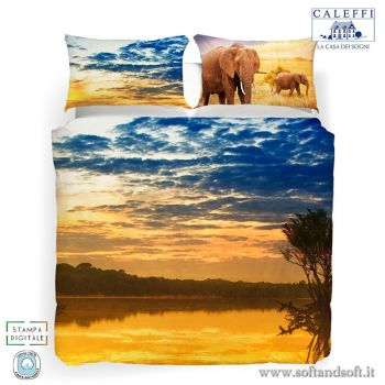 Copripiumino letto singolo con stampa digitale savana ed elefanti