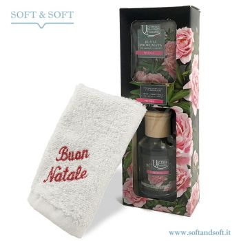 VALERIA Fragrance Diffuser with Embroided Hand Towel ''Buon Natale''
