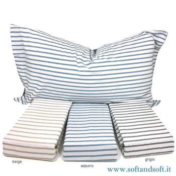 Copripiumino no stiro in microfibra per letto matrimoniale a righe disponibile in tre colori bianco/azzurro bianco/grigio bianco/beige