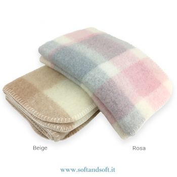 MOHAIR BABY Wool Blanket for Cots Checked Pattern cm 90x120