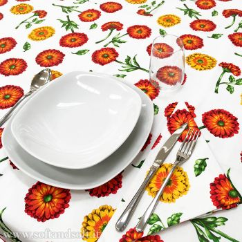 GERBERA Pure Cotton Table Set  for 8 people Tablecloth+Napkins