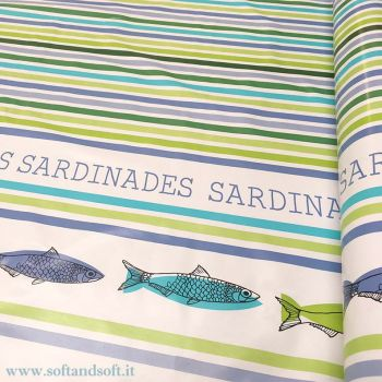 SARDINES plastic coated fabric for tablecloth H cm 140