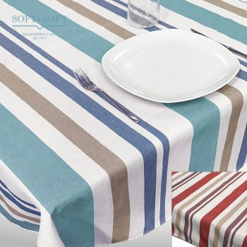 TROPEA STRIPE Tablecloth in Resinated Fabric for 12 people cm 140x250