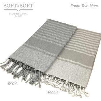 Fouta Melange Telo Mare in cotone con Frange cm 100x200 - Grigio e Sabbia