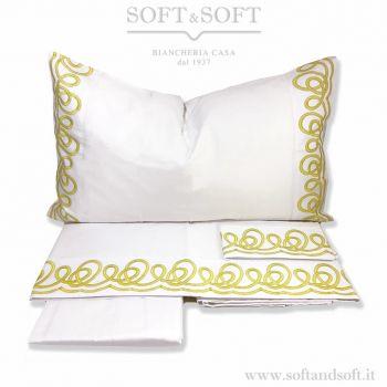 DIVA lenzuola in Raso di Puro Cotone Ricamate - Bianco e Oro cm 270x290