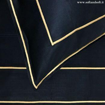 FRAME lenzuola in Raso di Puro Cotone Ricamate - BLU e Oro cm 270x290