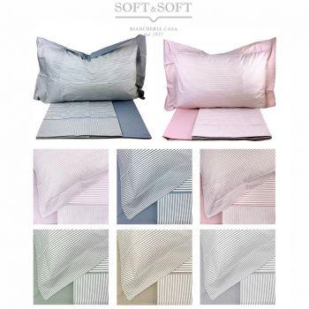 lenzuola per letto matrimoniale a righe colore azzurro rosa beige grigio verde