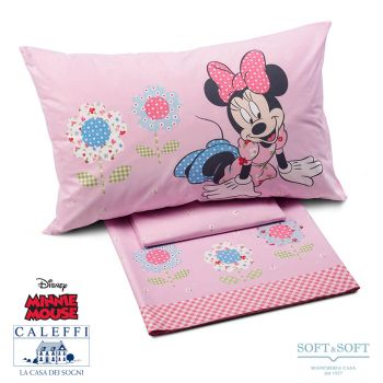 MINNIE PATCHWORK Sheet Set for Single Bed Disney by CALEFFI