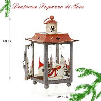 lanterna natalizia in metallo decorata con pupazzo di neve