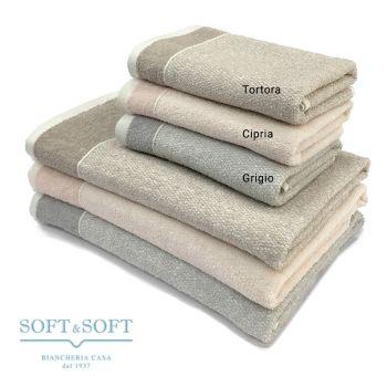 LILLE Set Asciugamani 1+1 Spugna di Puro Cotone