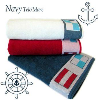 Telo mare tinta unita Bianco rosso Blu con bordo bandiere segnalazione navale