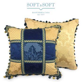 PATCHWORK Cuscino Arredo Salotto Tessuto Jacquard cm 50x50 Giallo e Blu