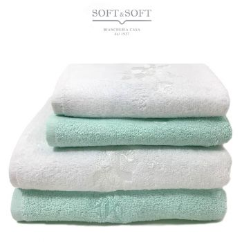asciugamani casa bianco verde acqua