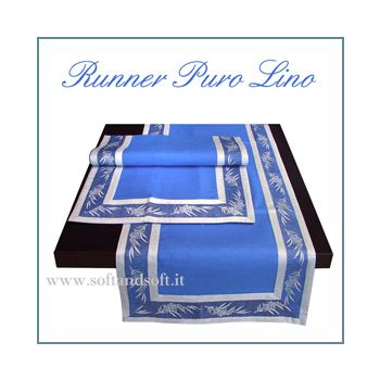 RUNNER Puro Lino Blu Bordato