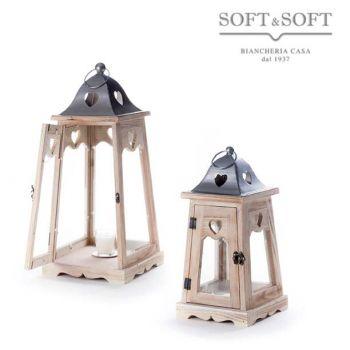 LANTERNE TWINS set di due lanterne in legno vetro e metallo di grandi dimensioni