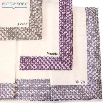 SOFIA Completo lenzuola letto Matrimoniale Percalle di Puro Cotone