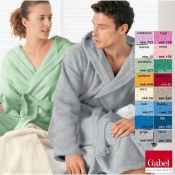 accappatoio in spugna con cappuccio in tanti colori: rosa verde grigio blu bordeaux bianco ecrù