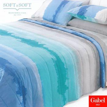 lenzuola letto matrimoniale cotone azzurro sfumato e verde acqua