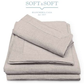 AMBRA Sheet Set for Double Bed Linen Blend Fabric
