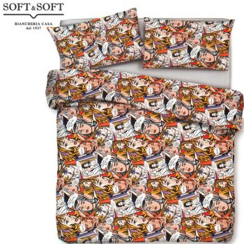 Fumetto duvet cover for double bed made with a fine pure cotton percale
