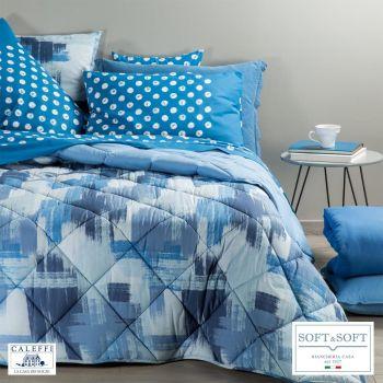 BRERA trapunta invernale per letto SINGOLO in cotone CALEFFI - Blu