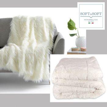 Cocon plaid coperta in pelliccia ecologica cm 210x240 matrimoniale