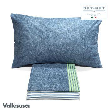 CONFIDENT completo lenzuola SINGOLO stampato VALLESUSA-Denim