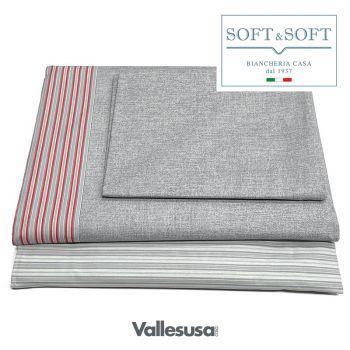 CONFIDENT completo lenzuola PIAZZA E MEZZA stampato VALLESUSA-Grigio