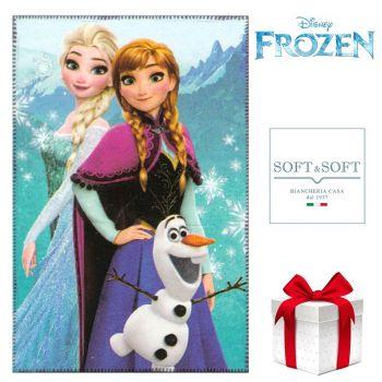 Frozen plaid pile copertina da bambina cm 100x150 Disney Azzurro