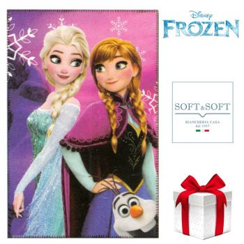 Frozen plaid pile copertina da bambina cm 100x150 Disney Rosa