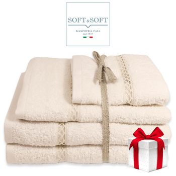 GIGLIUCCIO set asciugamani 3 Pezzi (Viso+telo+ospite)