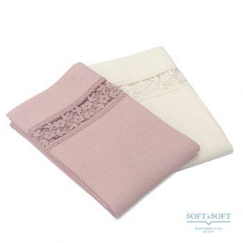 GIULIANA Set Asciugamani Bagno 1+1 Nido d'Ape Balza Pizzo