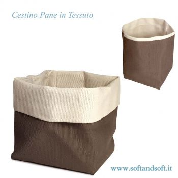 Cestino Porta Pane da tavola cotone Made in Italy Marrone cm 13x13x18