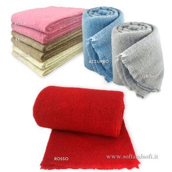 MOHAIR coperta lana/plaid misura SINGOLA cm 150x190 tinta unita