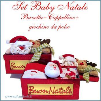 Baby Natale set Bavaglino Cappellino e Giochino