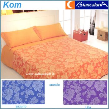TRAMONTI KOM Pure Cotton Bed cover for double Bed by Biancaluna for summer