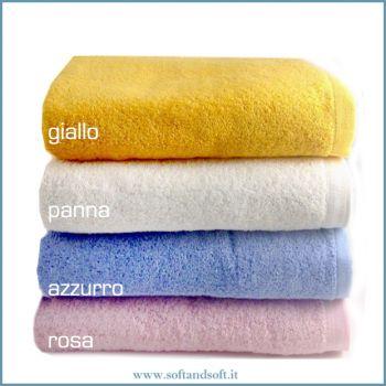 SOFFY Asciugamano Viso 60x100 cm rosa azzurro panna giallo gr.500/mq