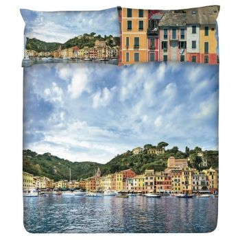 Copri piumino matrimoniale Gabel stampa ditale panoramica di portofino casette colorate barche e mare