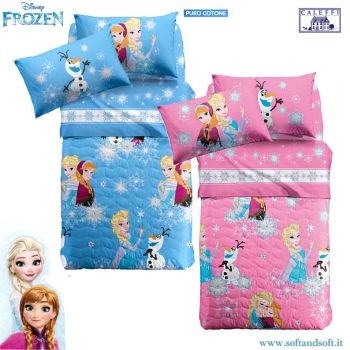 FROZEN ELSA e ANNA quilted bedcover for three quarter beds Disney Caleffi