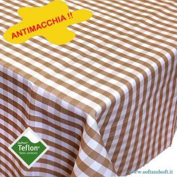 BORA Table cloth for 6 cm 140x180 check pattern no stain TEFLON - Dove