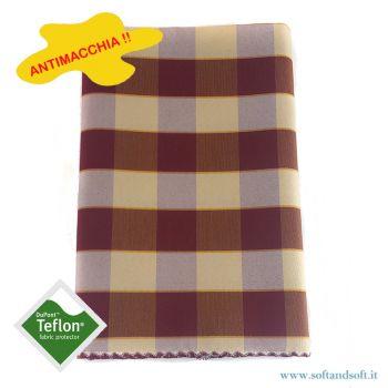 BORA Table cloth for 6 cm 140x180 check pattern no stain TEFLON bordeaux