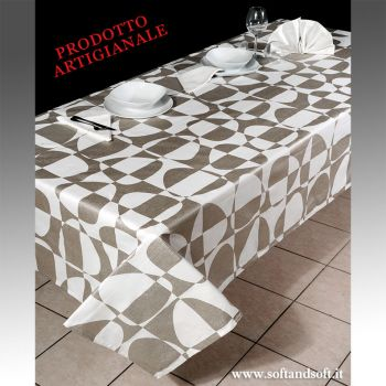 XENIA Tablecloth for 12 people in pure printed cotton + 12 napkins