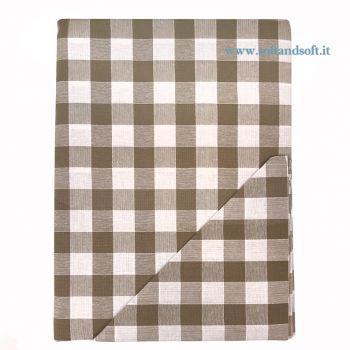 CAMPAGNOLA Tovaglia a quadretti Bianco e Tortora per 8 con Tovaglioli cm 140x220