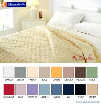 ANAIS Cotton Satin Quilted Bedcover for single bed BIANCALUNA