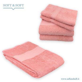SOFT Set Asciugamani Bagno 5pz in Spugna di Puro Cotone Corallo
