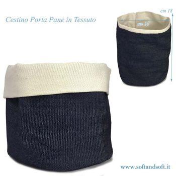 Cestino Porta Pane da tavola cotone Made in Italy Blu jeans cm 14x18