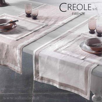 LINO BICOLORE Runner Tablecloth in Pure Linen cm 52x140 CREOLE