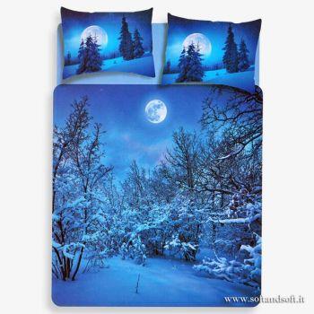 sacco copri piumino matrimoniale stampa digitale paesaggio luna neve azzurro