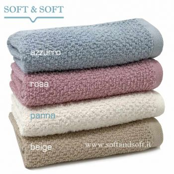 SOFT RICE Towel cm 40x60 pink beige cream blue gr. 430/sm